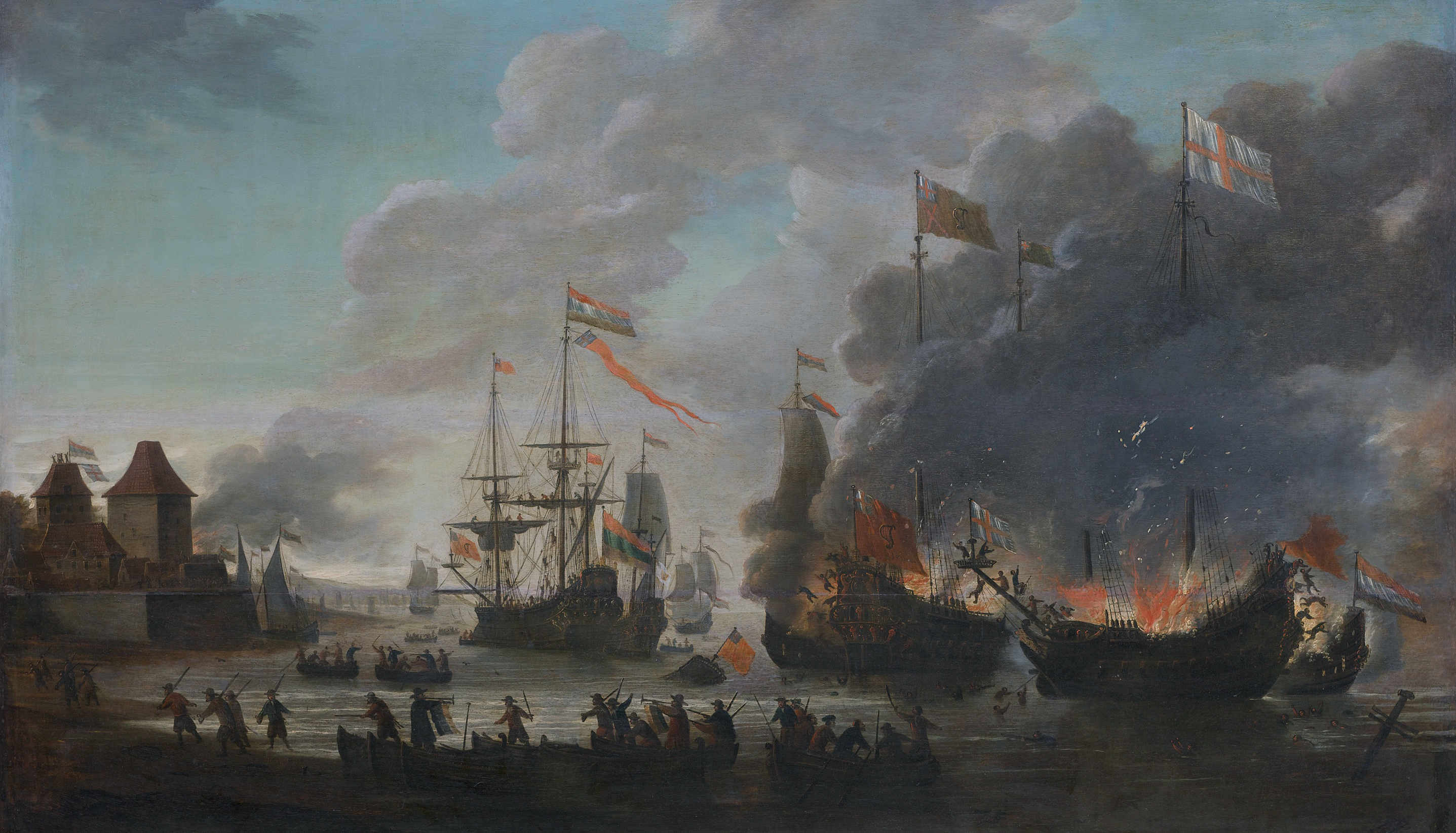 Jan Van Leyden, The Dutch burning English ships during the Raid on the Medway, 20 June 1667 (c.1667-69)